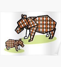 Mother Bear Baby Bear Origami Poster