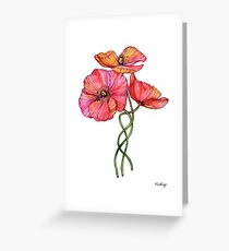 Peach & Pink Poppy Tangle Greeting Card