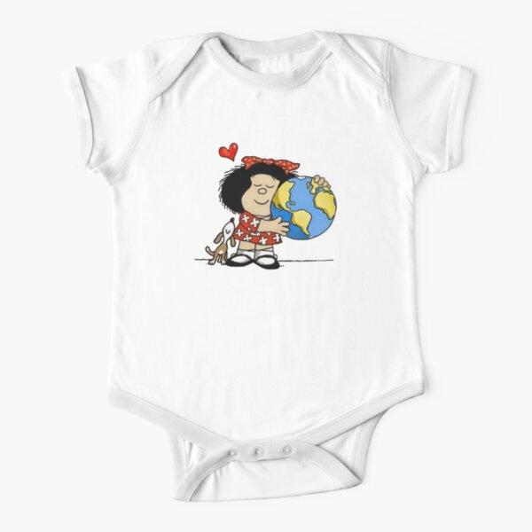 Mafalda, el mundo y su perrito Body de manga corta para bebé