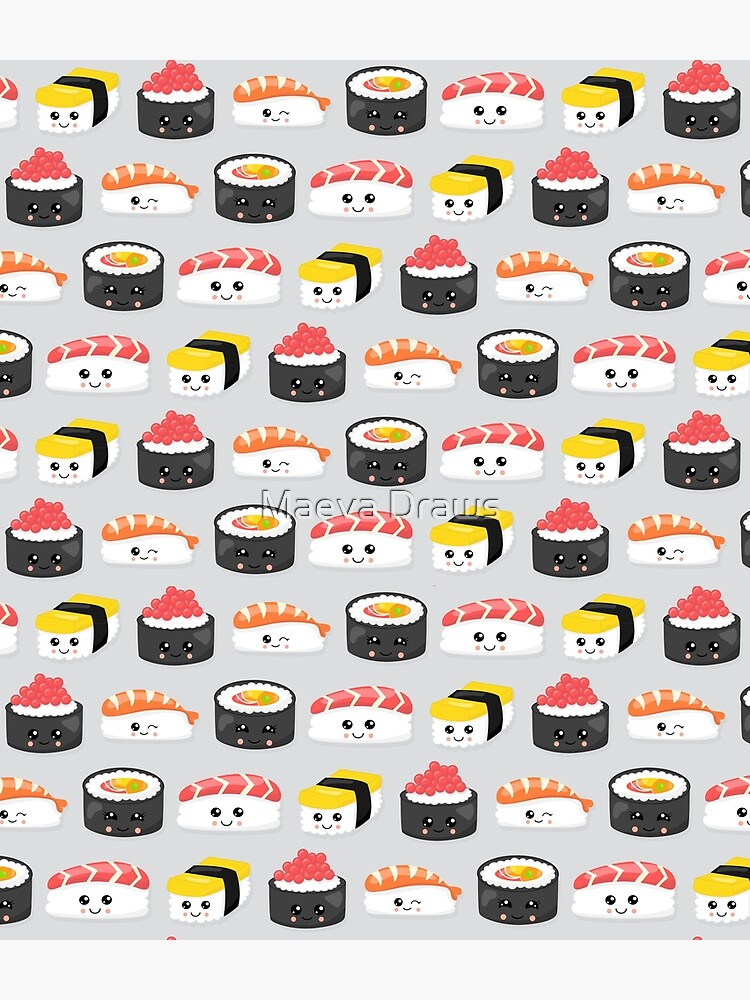 Cute Sushi lover pattern by bookishandgeeky