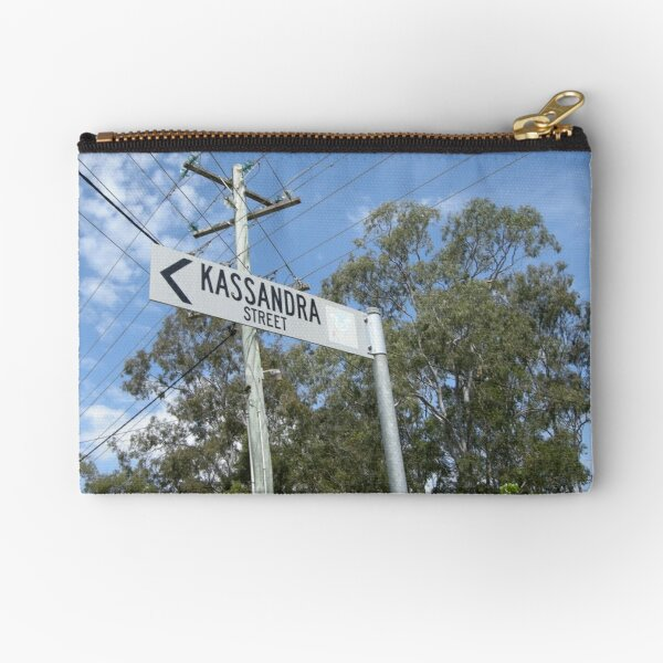 A street sign that says Kassandra Street Zipper Pouch