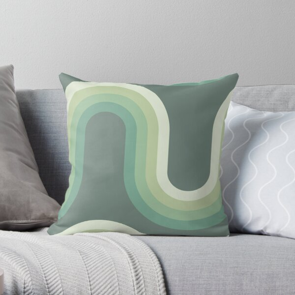 70s Pattern Waves Old Soft Green Pattern Throw Pillow