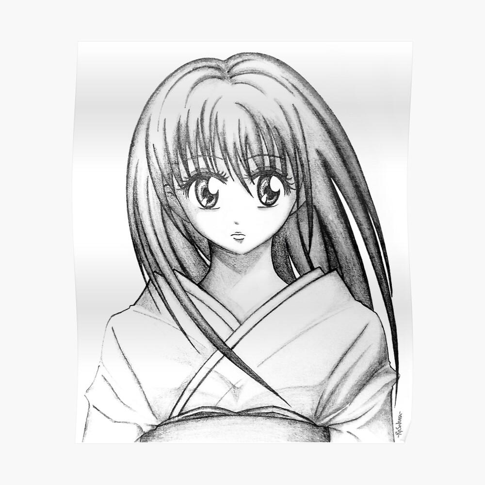 Random anime girl pencil drawing poster by johandee redbubble