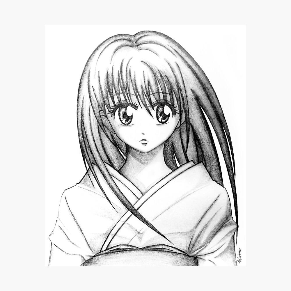 Random anime girl pencil drawing photographic print by johandee redbubble