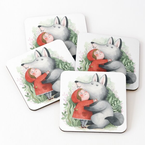 Lil Red Riding Hood & Wolf Coasters (Set of 4)