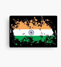 India Flag Ink Splatter Canvas Print