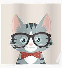 Grey Tabby Hipster Cat Poster
