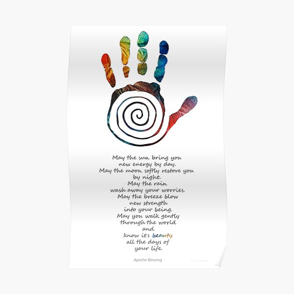 Native American Blessing - Healing Hand Symbol Art - Sharon Cummings Poster