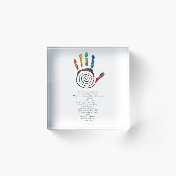 Native American Blessing - Healing Hand Symbol Art - Sharon Cummings Acrylic Block