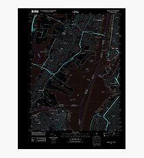 USGS TOPO Map New Jersey NJ Jersey City 20110609 TM Inverted Photographic Print