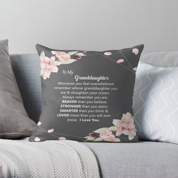 Granddaughter Pillow - Granddaughter blanket - Grey Granddaughter - Grey and White Granddaughter Gift Throw Pillow