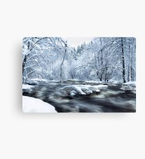 Wintry river rapids Canvas Print