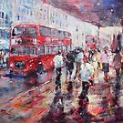 Red London Busses & Shoppers by Ballet Dance-Artist