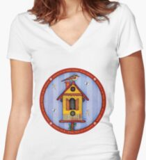 Birdhouse with Bird Women's Fitted V-Neck T-Shirt