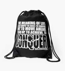 Meaning of Life (CONQUER Arnold Iconic White) Drawstring Bag