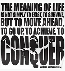 Meaning of Life (CONQUER Arnold Iconic Black) Poster
