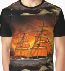 A Brig with Red Sails Graphic T-Shirt