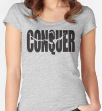 CONQUER (Arnold Iconic Black) Women's Fitted Scoop T-Shirt