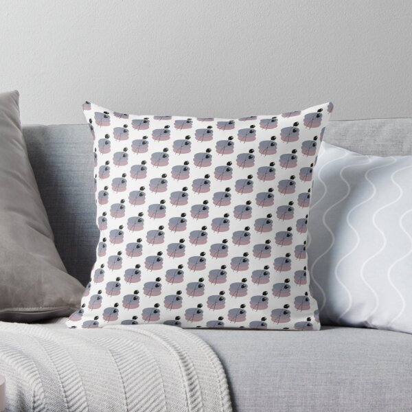 Pastel and Black Ink Tulip Throw Pillow