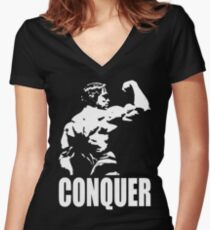 CONQUER (Arnold Back Bicep Flex) Women's Fitted V-Neck T-Shirt