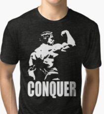CONQUER (Arnold Back Bicep Flex) Tri-blend T-Shirt