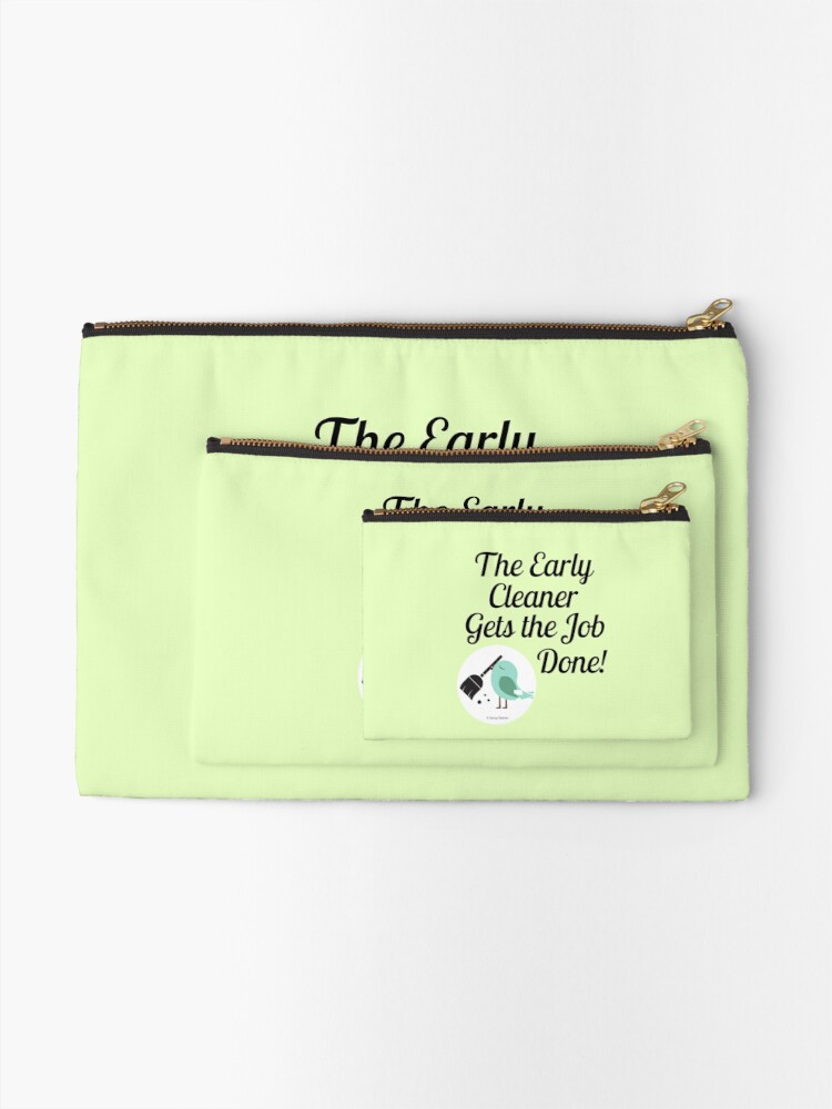 Alternate view of The Early Cleaner Gets The Job Done Bird Broom Humor Zipper Pouch