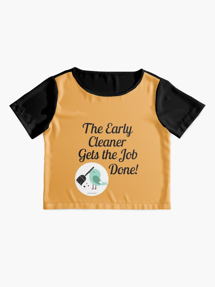 Alternate view of The Early Cleaner Gets The Job Done Bird Broom Humor Chiffon Top