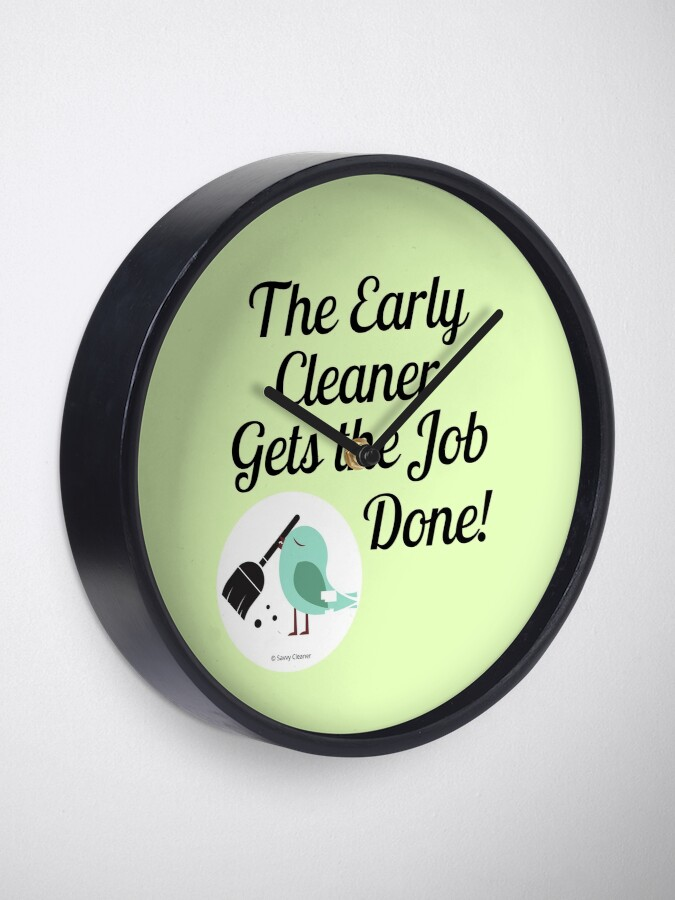 Alternate view of The Early Cleaner Gets The Job Done Bird Broom Humor Clock