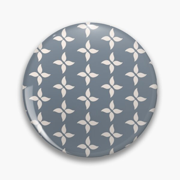 Cottagecore Blue Grey and White Abstract Flower Pin