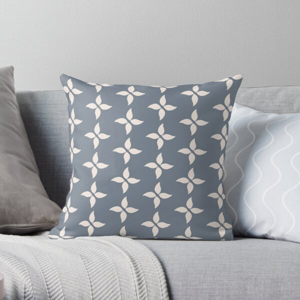 Cottagecore Blue Grey and White Abstract Flower Throw Pillow