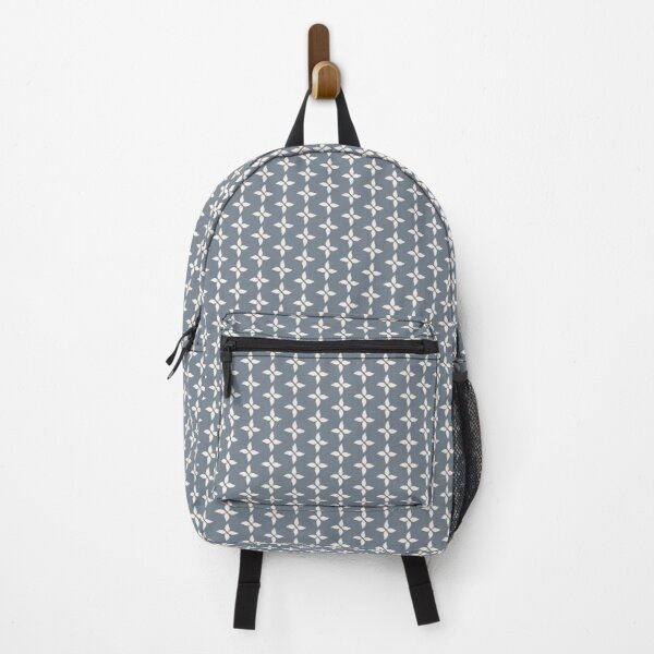 Cottagecore Blue Grey and White Abstract Flower Backpack