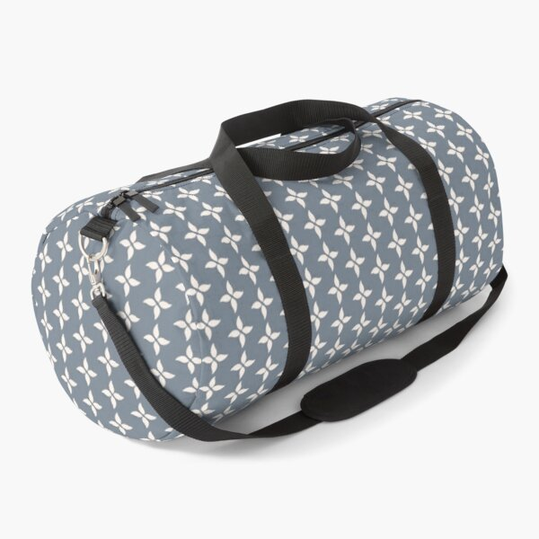 Cottagecore Blue Grey and White Abstract Flower Duffle Bag