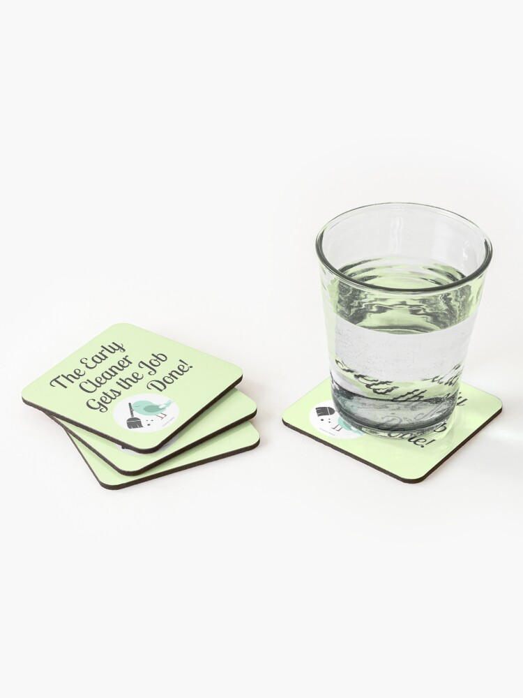 Alternate view of The Early Cleaner Gets The Job Done Bird Broom Humor Coasters (Set of 4)