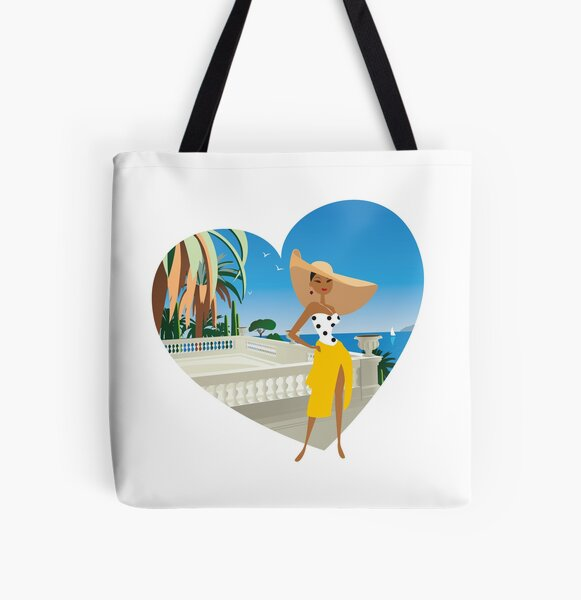 French Riviera girl2 Tote bag doublé