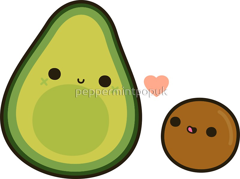 Quot Cute Avocado And Stone Quot Stickers By Peppermintpopuk