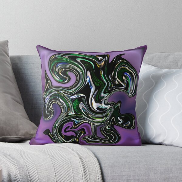 Purple Green Swirl Cool Graphic Abstract Pattern Throw Pillow