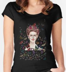 Frida Kahlo Flowers Butterflies Women's Fitted Scoop T-Shirt