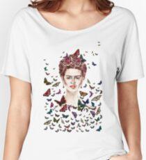 Frida Kahlo Flowers Butterflies Women's Relaxed Fit T-Shirt