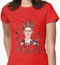 Frida Kahlo Flowers Butterflies Womens Fitted T-Shirt