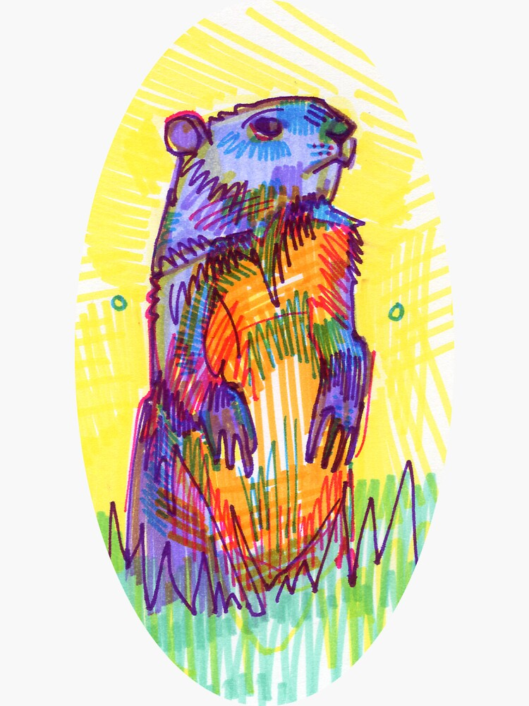Groundhog Drawing - 2011 by gwennpaints