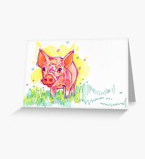 Piglet drawing - 2011 Greeting Card