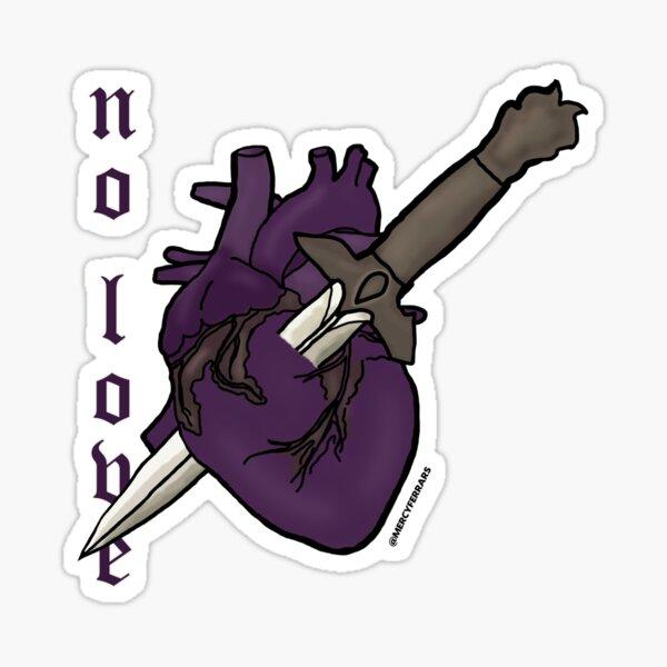 NO LOVE Heart & Dagger Design Sticker