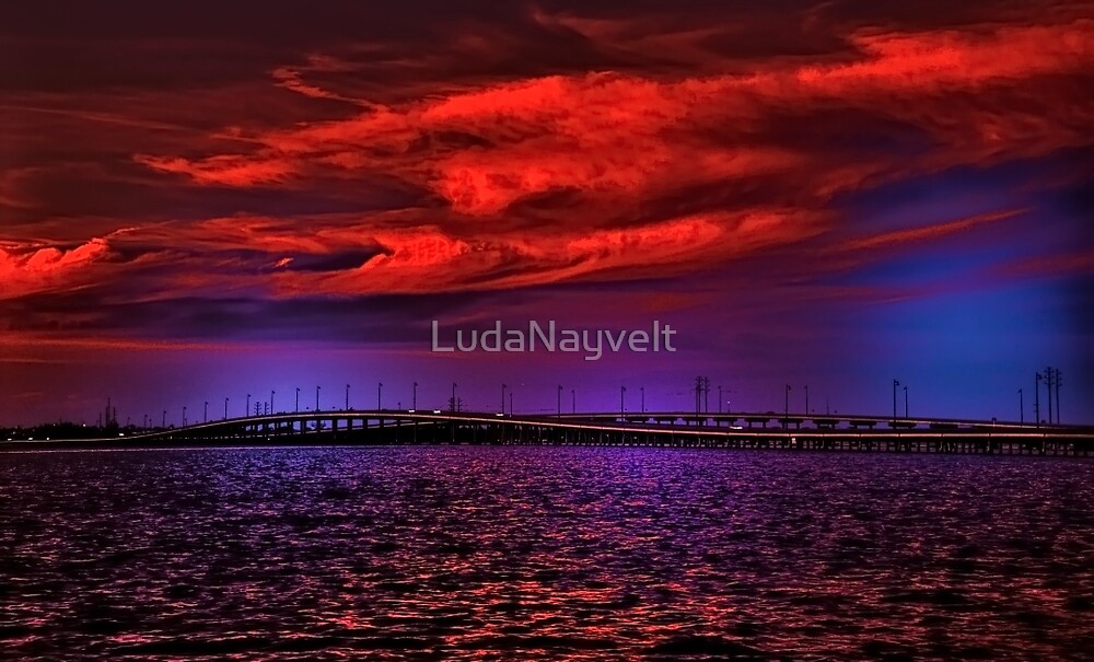 Sunset over Punta Gorda bridge by LudaNayvelt