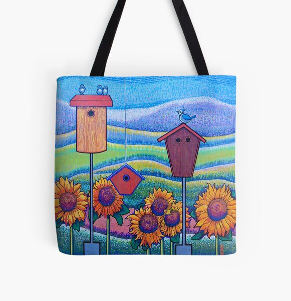 Confetti Landscape with Birds All Over Print Tote Bag