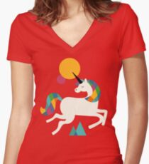 To be a unicorn Women's Fitted V-Neck T-Shirt