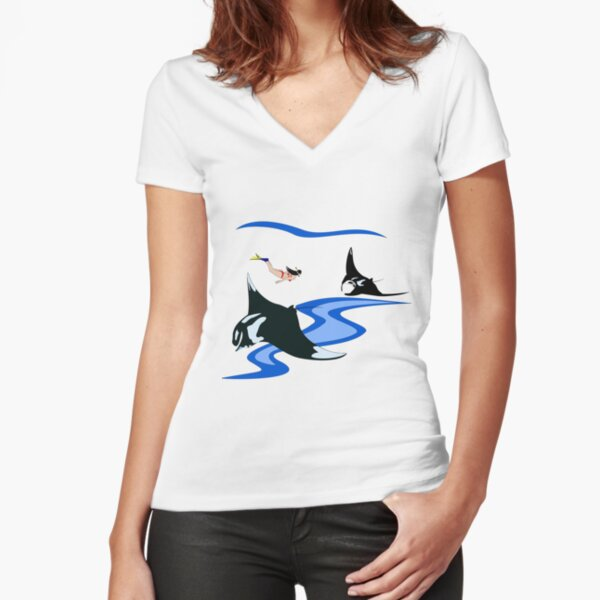Manta Ray and Free Diver Fitted V-Neck T-Shirt