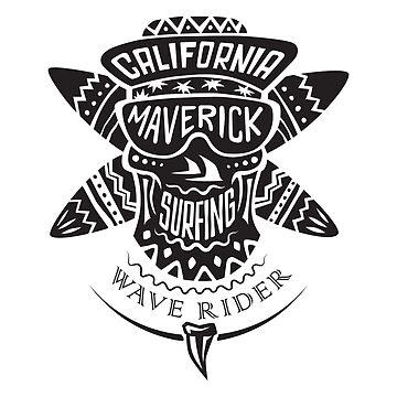Surfing skull maverick monochrome by valerisi
