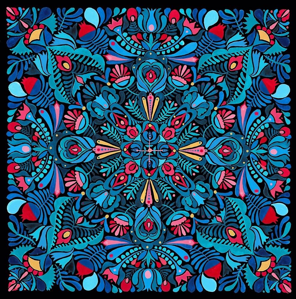 Pink, light blue springtime mandala on black by zsalto