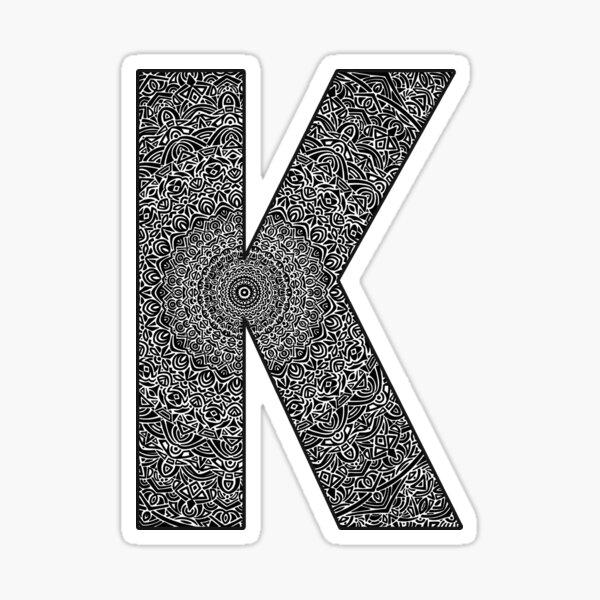 """K"" Monogram Letter Sticker! // Mandala Design Pattern Detailed Unique Sticker"