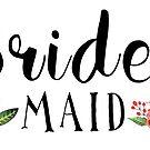 Bridesmaid Black Modern text Design Floral Accent by artonwear